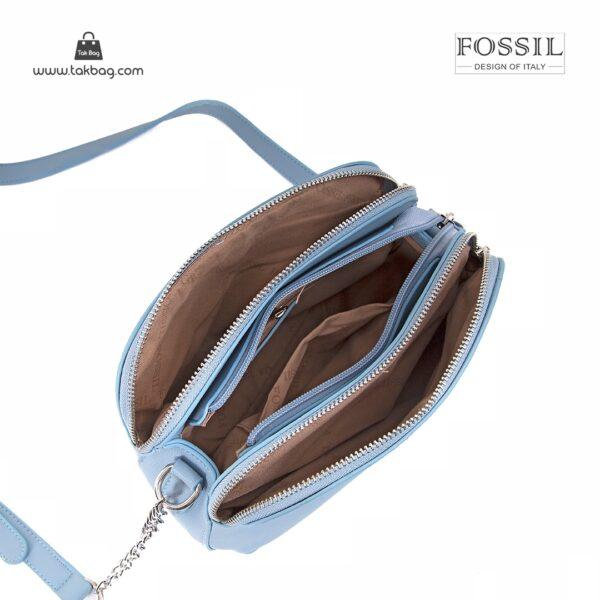 کیف برند فسیل رنگ آبی از بالا ( fossil tb-6101)