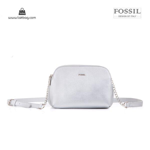 کیف برند فسیل رنگ نقره ای از جلو ( fossil tb-6101)