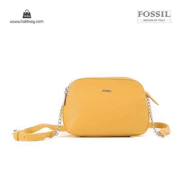 کیف برند فسیل رنگ زرد از جلو ( fossil tb-6101)