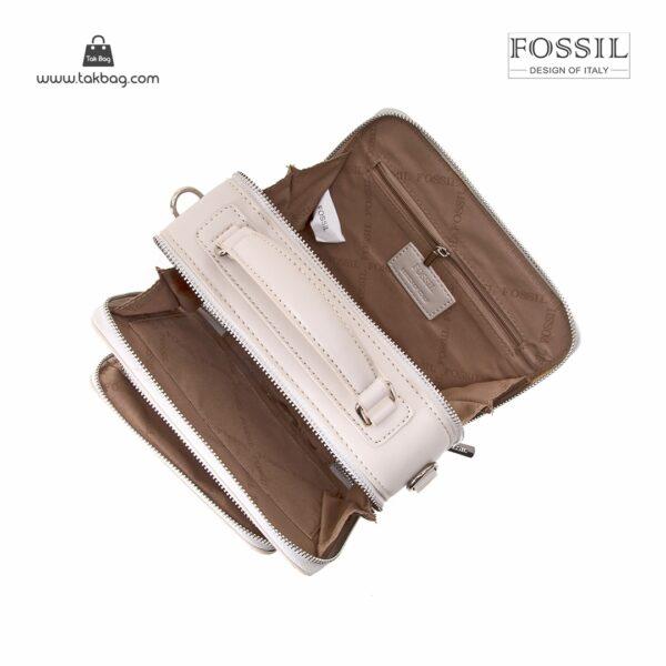 کیف برند فسیل رنگ طوسی از بالا ( fossil tb-6102)