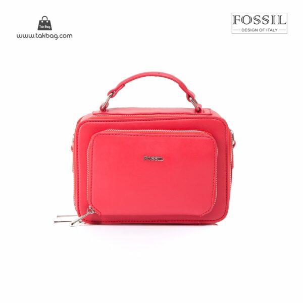 کیف برند فسیل رنگ قرمز از جلو ( fossil tb-6102)