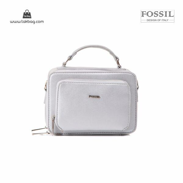 کیف برند فسیل رنگ نقره ای از جلو ( fossil tb-6102)