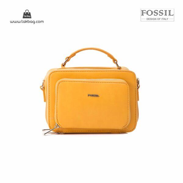 کیف برند فسیل رنگ زرد از جلو ( fossil tb-6102)