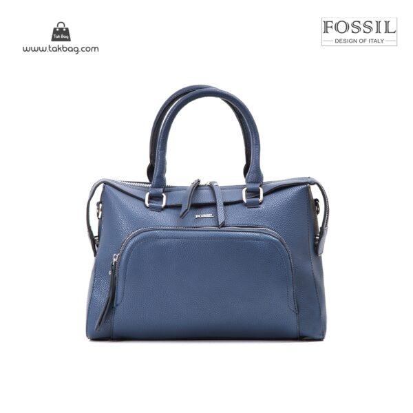 کیف برند فسیل رنگ آبی از جلو ( fossil tb-6103)