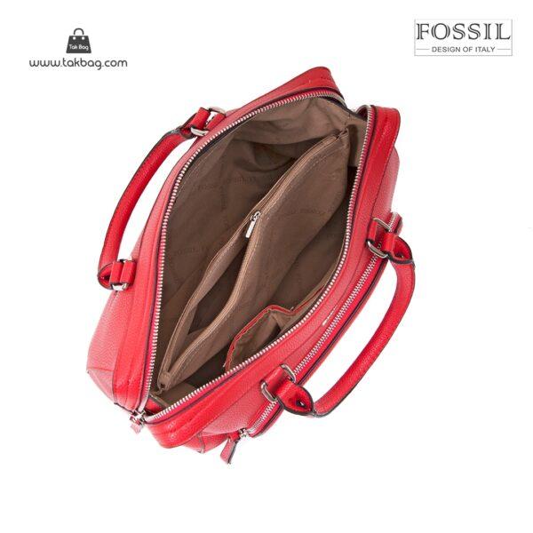کیف برند فسیل رنگ قرمز از بالا ( fossil tb-6103)