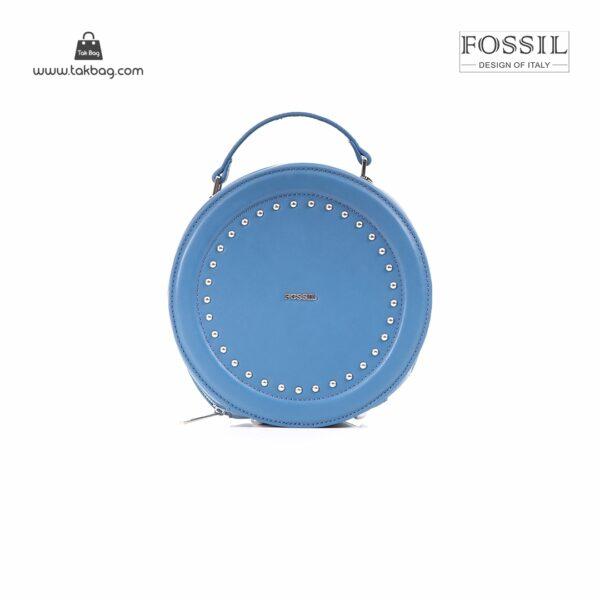 کیف برند فسیل رنگ آبی از جلو ( fossil tb-6104)
