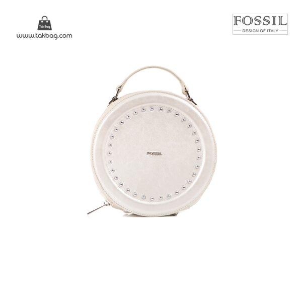 کیف برند فسیل رنگ نقره ای از جلو ( fossil tb-6104)