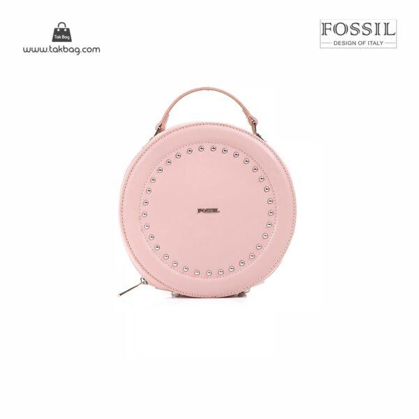 کیف برند فسیل رنگ صورتی از جلو ( fossil tb-6104)