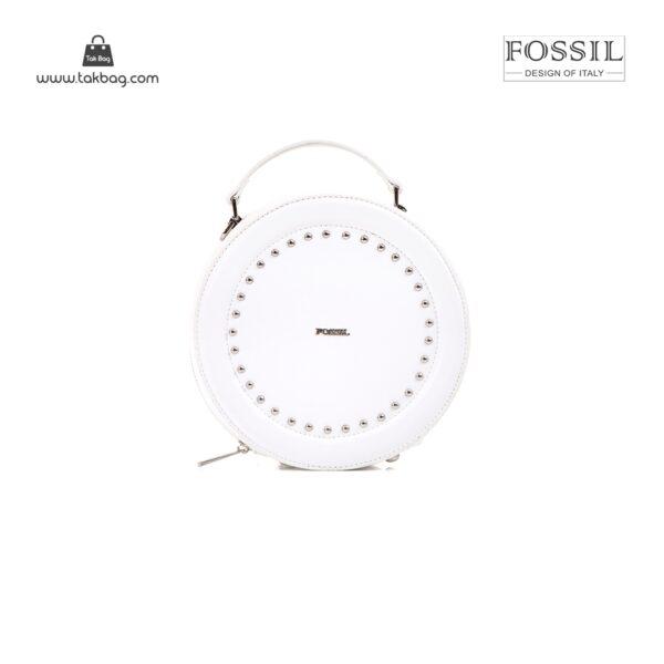 کیف برند فسیل رنگ سفید از جلو ( fossil tb-6104)