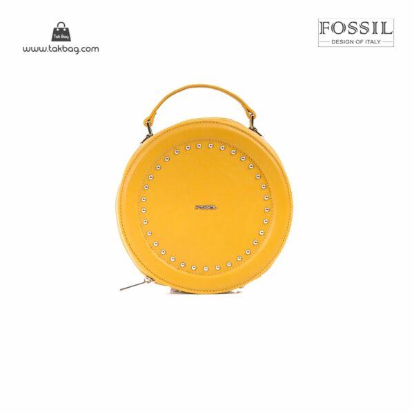 کیف برند فسیل رنگ زرد از جلو ( fossil tb-6104)