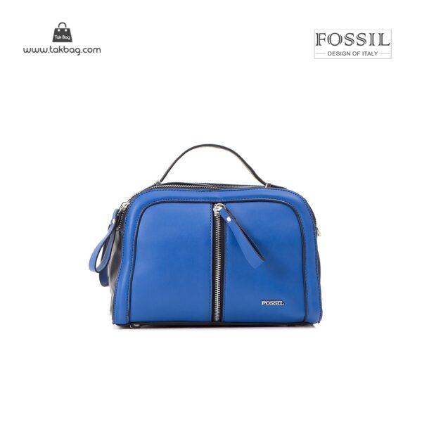 کیف برند فسیل رنگ آبی از جلو ( fossil tb-6105)