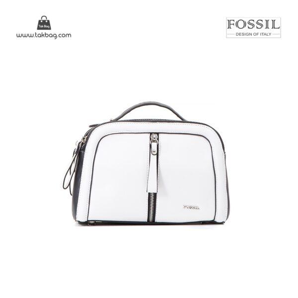 کیف برند فسیل رنگ سفید از جلو ( fossil tb-6105)