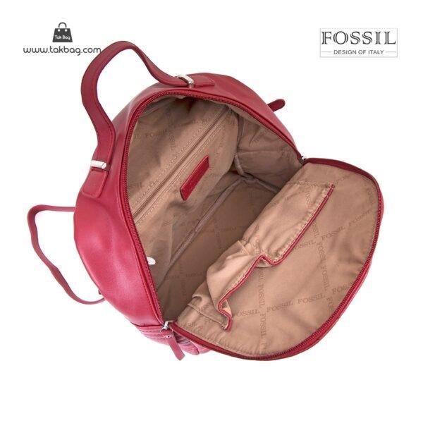کیف برند فسیل رنگ قرمز از بالا ( fossil tb-6106)
