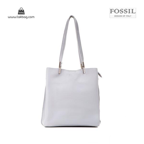 کیف برند فسیل رنگ طوسی از جلو ( fossil tb-6107)