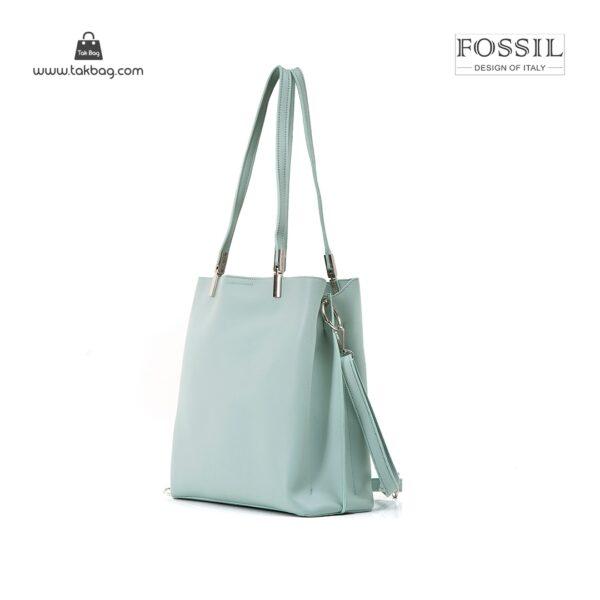 کیف برند فسیل رنگ سبز از بغل ( fossil tb-6107)