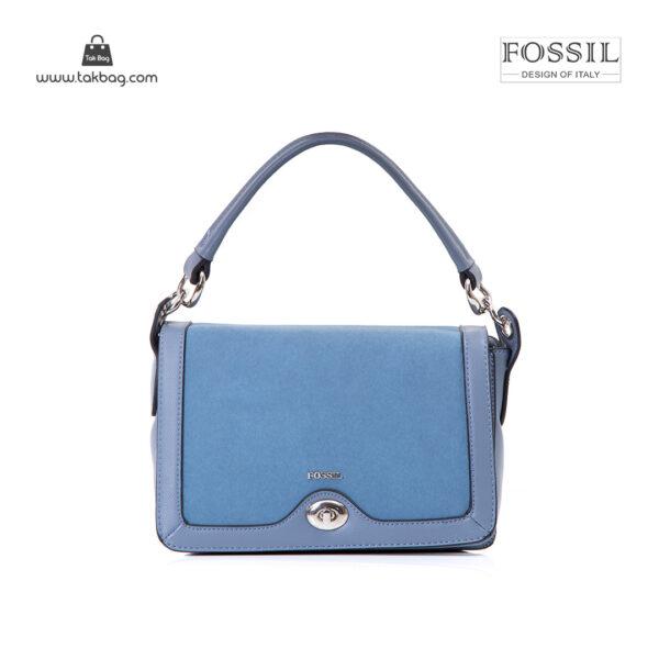 کیف برند فسیل رنگ آبی از جلو ( fossil tb-6108)