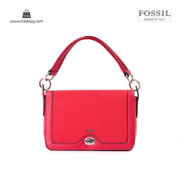 کیف برند فسیل رنگ قرمز از بغل ( fossil tb-6108)