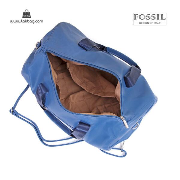 کیف برند فسیل رنگ آبی از بالا ( fossil tb-6111)