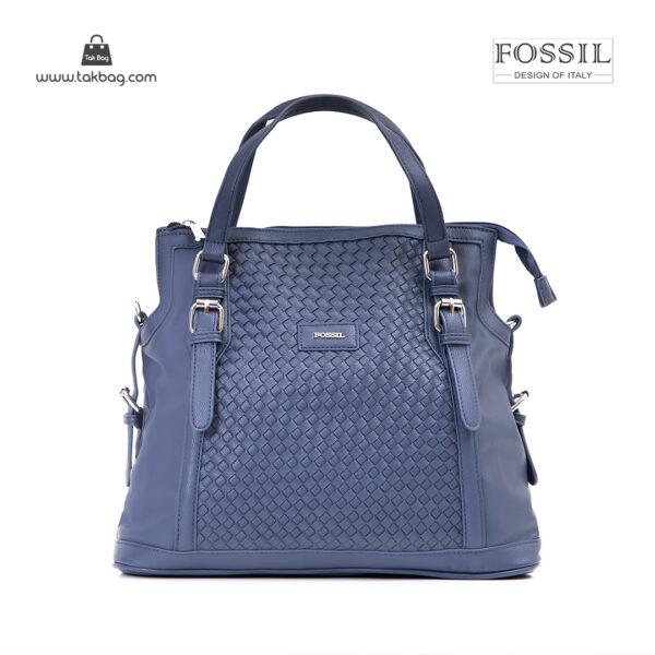 کیف برند فسیل رنگ آبی از جلو ( fossil tb-6112)