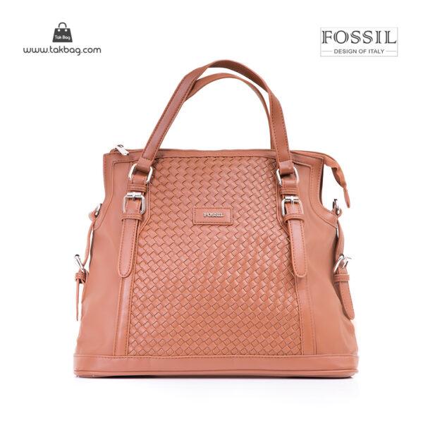 کیف برند فسیل رنگ قهوه ای از جلو ( fossil tb-6112)
