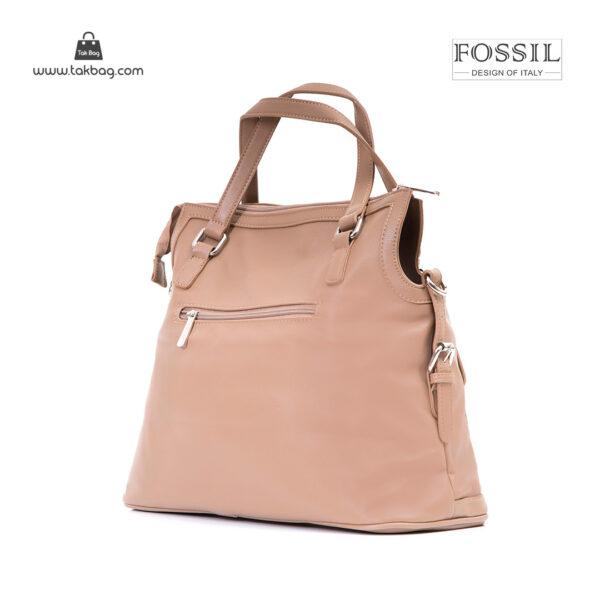 کیف برند فسیل رنگ تاپه از بغل ( fossil tb-6112)