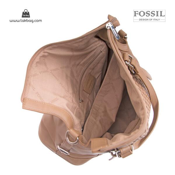کیف برند فسیل رنگ تاپه از بالا ( fossil tb-6112)