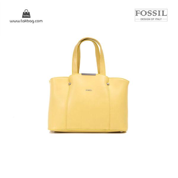 کیف برند فسیل رنگ زرد از جلو ( fossil tb-6113)