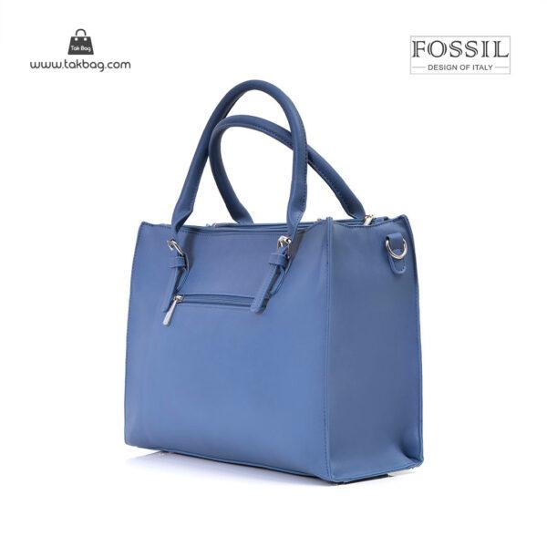کیف برند فسیل رنگ آبی از بغل ( fossil tb-6118)