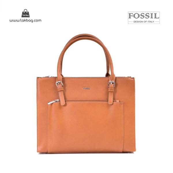 کیف برند فسیل رنگ قهوه ای از جلو ( fossil tb-6118)