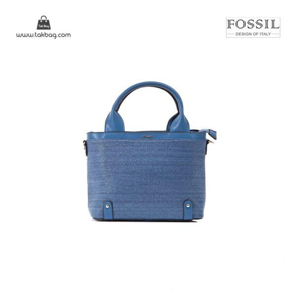 کیف برند فسیل رنگ آبی از جلو ( fossil tb-6110)