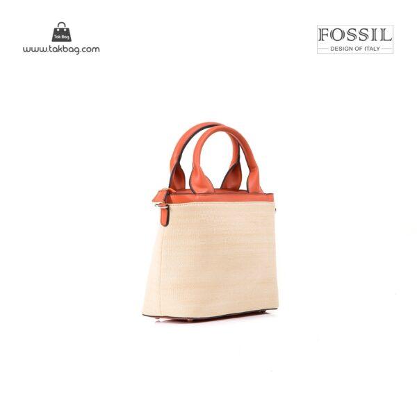 کیف برند فسیل رنگ نارنجی از بغل ( fossil tb-6110)