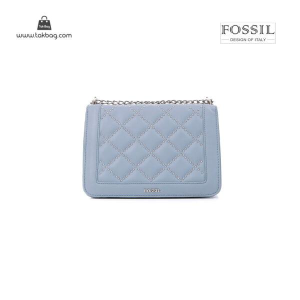 کیف برند فسیل رنگ آبی از جلو ( fossil tb-6115)