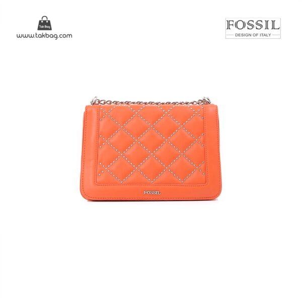 کیف برند فسیل رنگ نارنجی از جلو ( fossil tb-6115)
