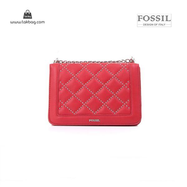 کیف برند فسیل رنگ قرمز از جلو ( fossil tb-6115)