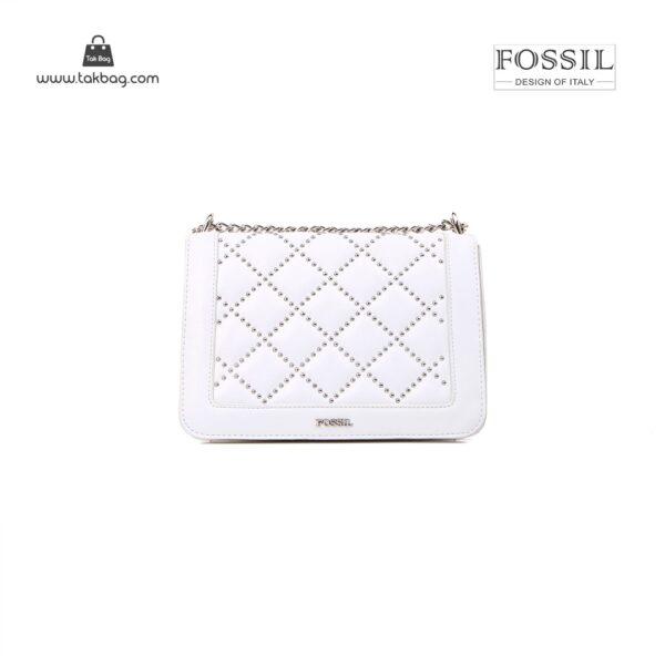 کیف برند فسیل رنگ سفید از جلو ( fossil tb-6115)
