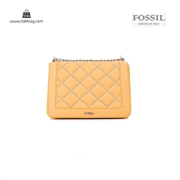 کیف برند فسیل رنگ زرد از جلو ( fossil tb-6115)
