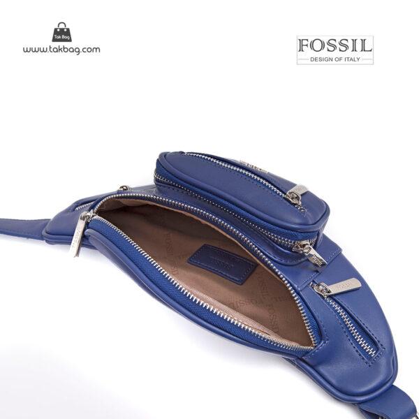 کیف برند فسیل رنگ آبی از بالا ( fossil tb-6116)