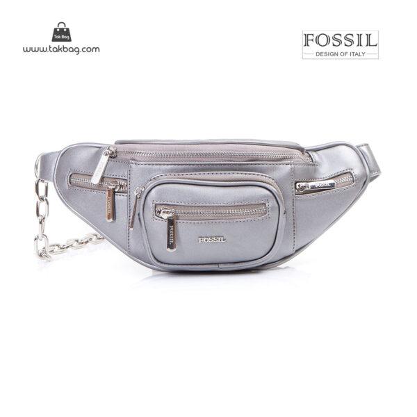 کیف برند فسیل رنگ طوسی از جلو ( fossil tb-6116)