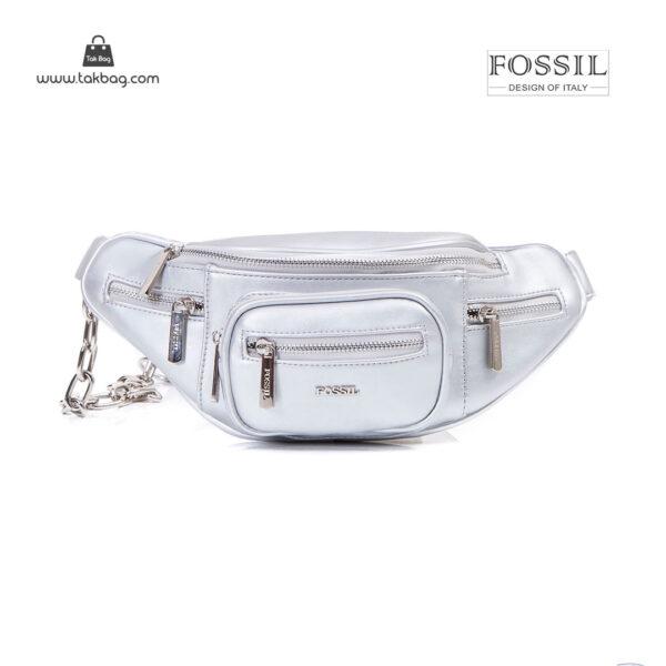 کیف برند فسیل رنگ نقره ای از جلو ( fossil tb-6116)