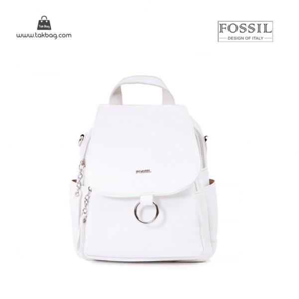 کیف برند فسیل رنگ سفید از جلو ( fossil tb-6121 )