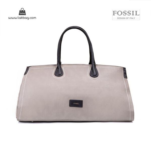 کیف برند فسیل رنگ طوسی از جلو ( fossil tb-6122 )