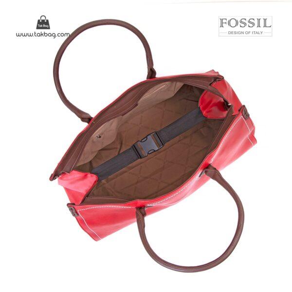 کیف برند فسیل رنگ قرمز از بالا ( fossil tb-6122 )