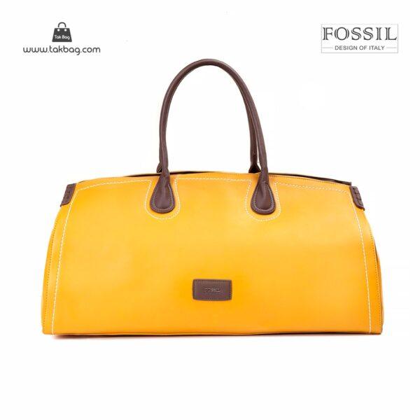 کیف برند فسیل رنگ زرد از جلو ( fossil tb-6122 )