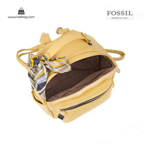 کیف برند فسیل رنگ زرد از بالا ( fossil tb-6123)