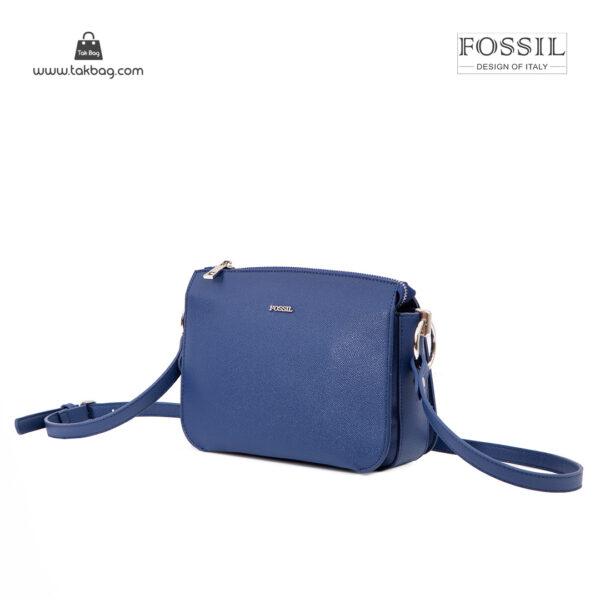 کیف رودوشی زنانه کد TB-6124 برند فسیل رنگ آبی از جلو ( fossil tb-6124 )
