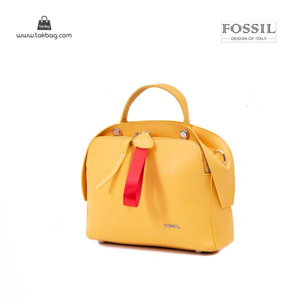 کیف رودوشی زنانه کد TB-6127 برند فسیل رنگ زرد از جلو ( fossil tb-6127 )
