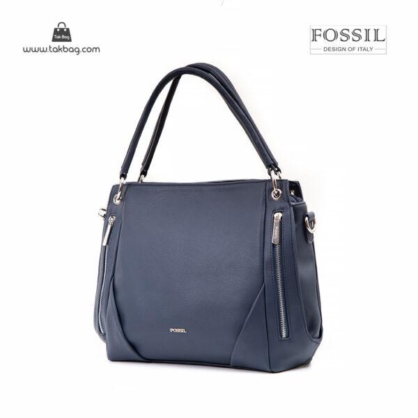 کیف دستی زنانه کد TB-6133 برند فسیل رنگ آبی از جلو ( fossil tb-6133 )