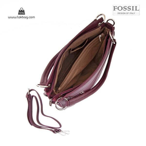 کیف دستی زنانه کد TB-6133 برند فسیل رنگ قرمز از بالا ( fossil tb-6133 )