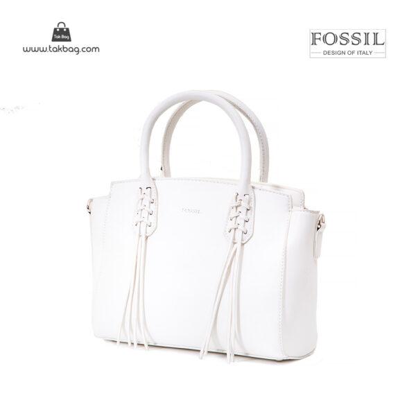 کیف دستی زنانه کد TB-6138 برند فسیل رنگ سفید از جلو ( fossil tb-6138 )