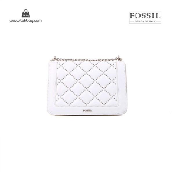 کیف رودوشی زنانه کد TB-6140 برند فسیل رنگ سفید از جلو ( fossil tb-6140 )